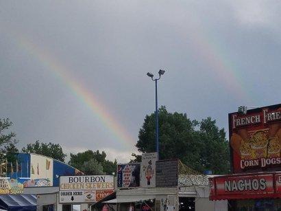 Double rainbow over bourbon chicken skewers